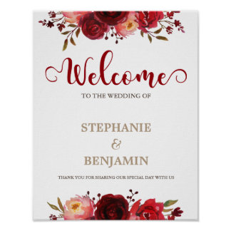 Burgundy Marsala Red Floral Welcome Wedding sign