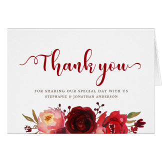 Burgundy Marsala Red Roses Floral Thank you Card