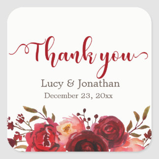 Burgundy Marsala Red Roses Floral Thank You Square Sticker