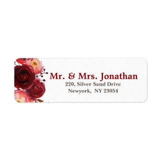 Burgundy Marsala Red Roses Floral Wedding Address Return Address Label