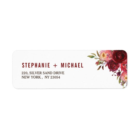 Burgundy Marsala Red Roses Floral Wedding Address Return Address Label