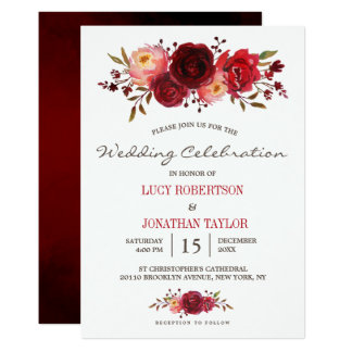 Burgundy Marsala Red Roses Floral Wedding Card