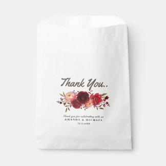 Burgundy Marsala Red Roses Floral Wedding Favour Bag
