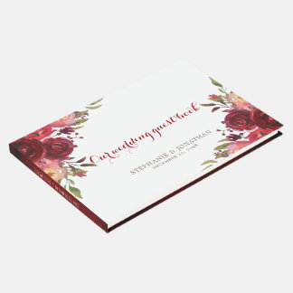 Burgundy Marsala Red Roses Floral wedding Guest Book