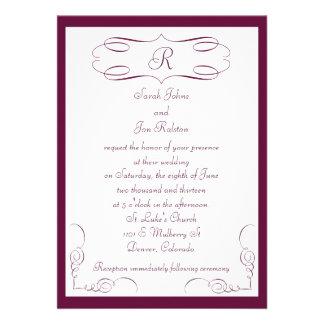 Burgundy Monogram Wedding Invitation