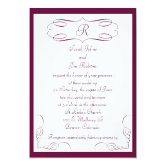 Burgundy Monogram Wedding Invitation