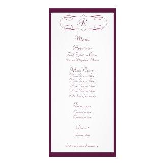 Burgundy Monogram Wedding Menu Rack Card