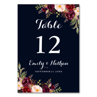 Burgundy Navy Floral Fall Wedding Table Number