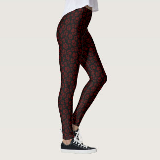 Burgundy-on-Black Paw Print Leggings
