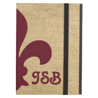 Burgundy Parisian Moods Fleur de Lys Monogram iPad Air Cover