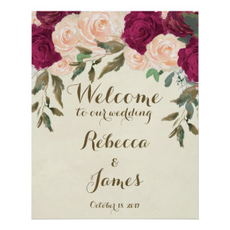 burgundy peach floral wedding welcome poster sign