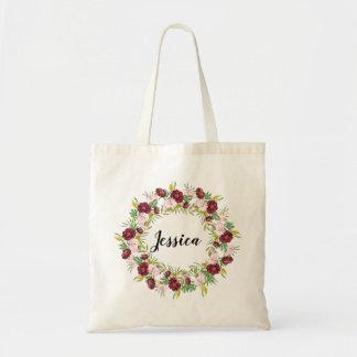 Burgundy Peony Wreath Personalized Bridesmaid Tote Bag
