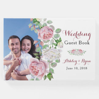 Burgundy Pink Chic Rose Floral Wedding Guest Book