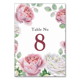 Burgundy Pink Chic Rose Floral Wedding Table Card