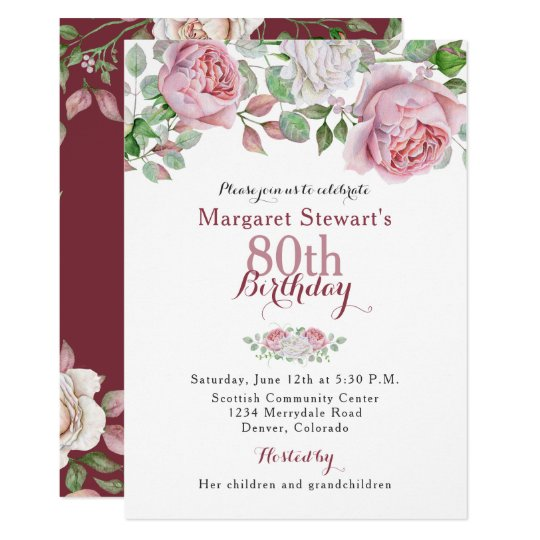 Burgundy pink country rose 80th birthday invite zazzle burgundy pink country rose 80th birthday invite stopboris Images