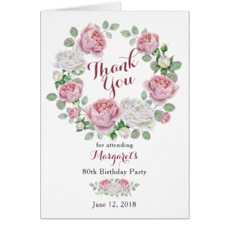 Burgundy Pink Country Rose 80th Birthday Thank You