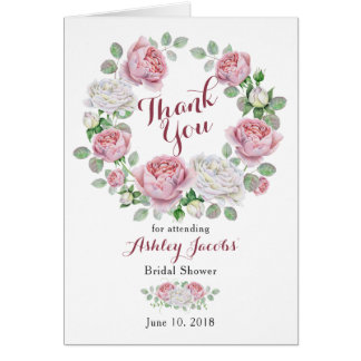 Burgundy Pink Country Rose Bridal Shower Thank You Card