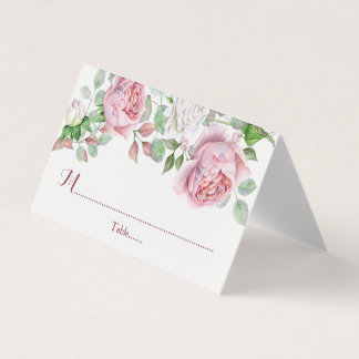 Burgundy Pink Country Rose Floral Wedding Place Card