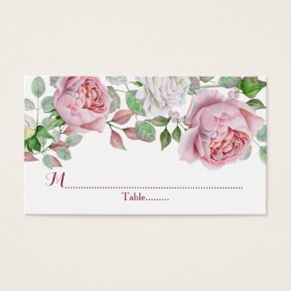 Burgundy Pink Country Rose Wedding Place Cards