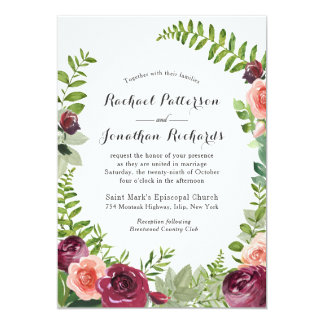 Burgundy Pink Fantasy Floral Wedding Invitation