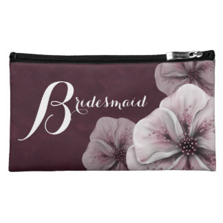 Burgundy Pink Floral Bridesmaid Cosmetic Bag