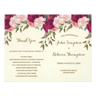 burgundy pink floral wedding ceremony program flyer
