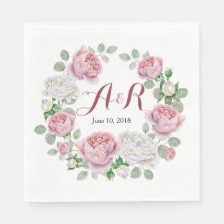 Burgundy Pink Monogram Rose Floral Wedding Paper Napkins