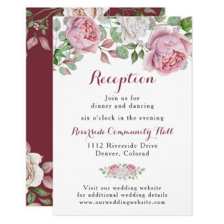 Burgundy Pink Rose Floral Wedding Reception Insert Card