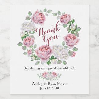 Burgundy Pink Rose Floral Wedding Thank You Wine Label