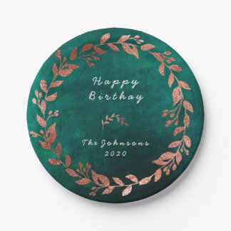 Burgundy Pink Rose Gold Brush Teal Paper Plate