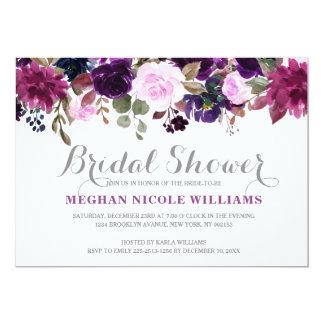 Burgundy Purple Floral Rustic Boho Bridal Shower Card