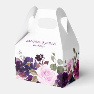 Burgundy Purple Floral Rustic Boho Wedding Favour Box