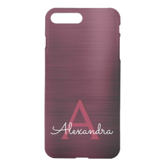 Burgundy Purple Modern Stainless Steel Monogram iPhone 8 Plus/7 Plus Case