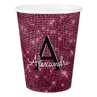 Burgundy Purple & Sparkle Monogram Birthday Paper Cup