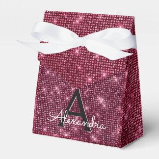 Burgundy Purple Sparkle Monogram Party Favour Box