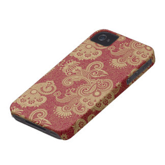 Burgundy Red And Beige Floral Swirls Design Case-Mate iPhone 4 Case