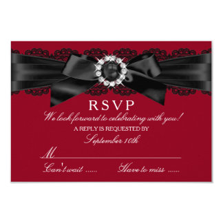 Burgundy Red and Black Lace & Pearl Bow RSVP 9 Cm X 13 Cm Invitation Card