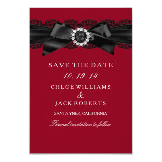 "Burgundy Red and Black Pearl Bow Save The Date 3.5"" X 5"" Invitation Card"