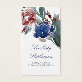 Burgundy Red and Navy Blue Elegant Floral Business Card