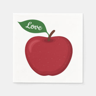 Burgundy Red Apple Love Fall Wedding Party Country Disposable Napkins