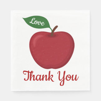 Burgundy Red Apple Thank You Wedding Party Country Disposable Napkin