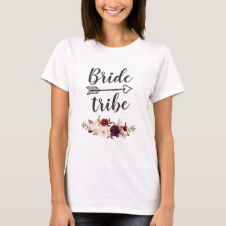 Burgundy Red Boho Floral Bridesmaid Bride Tribe T-Shirt