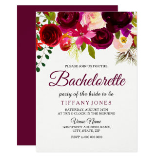 Burgundy Red Boho Flower Bachelorette Party Invite