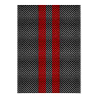 Burgundy Red Carbon Fiber Style Racing Stripes 13 Cm X 18 Cm Invitation Card