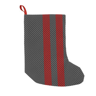 Burgundy Red Carbon Fiber Style Racing Stripes Small Christmas Stocking
