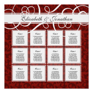 Burgundy Red Damask 12 Wedding Table Seating Chart Poster