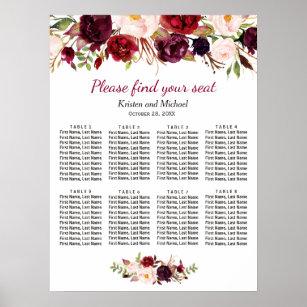 Wedding Program Fans Burgundy Floral Wreath 100 Count Assembled