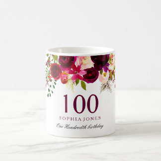 Burgundy Red Floral Boho 100th Birthday Gift Coffee Mug