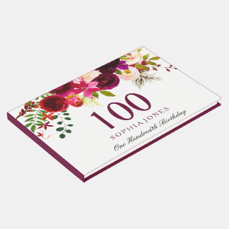 Burgundy Red Floral Boho 100th Birthday Guest Book