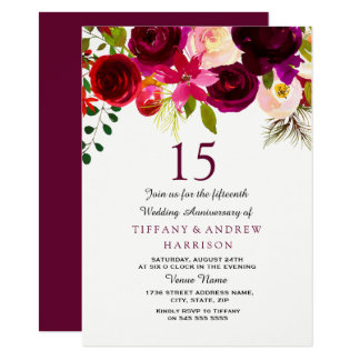 Burgundy Red Floral Boho 15th Wedding Anniversary Card